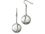 Chisel Stainless Steel Polished W/ Cz Dangle Shepherd Hook Earrings style: SRE982