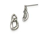 Chisel Stainless Steel Polished Two Loop 3 Crystal Dangle Earrings style: SRE986