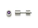 Chisel Stainless Steel Cz Feb Birthstone Polished Post Earrings style: SRE996