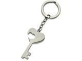 Chisel Stainless Steel Polished Key With Heart Cut-out Key Ring style: SRK139