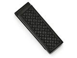 Chisel Stainless Steel Polished Black Ip-plated W/ Leather Inlay Money Clip style: SRM164
