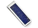 Chisel Stainless Steel Brushed And Polished With Lapis Lazuli Inlaymoney Clip style: SRM165