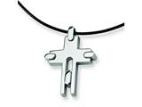 Chisel Stainless Steel Leather Cord Cross Necklace - 18 inches style: SRN100
