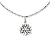 Chisel Stainless Steel Polished Flower With Czs Pendant 18in Necklace style: SRN101118