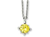 Chisel Stainless Steel Yellow Cz Pendant 18in Necklace style: SRN102118