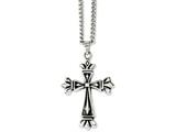 Chisel Stainless Steel Polished and Antiqued Cross 24in Necklace style: SRN103524