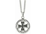 Chisel Stainless Steel Polished and Antiqued Cross In Circle 22in Necklace style: SRN103722