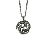 Chisel Stainless Steel Antiqued and Textured Circle 22in Necklace style: SRN103922
