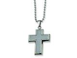 Chisel Stainless Steel Grey Carbon Fiber Cross Necklace - 22 inches