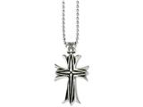 Chisel Stainless Steel Polished and Antiqued Cross 24in Necklace style: SRN104424
