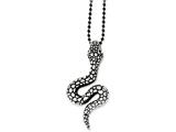 Chisel Stainless Steel Antiqued and Textured Snake 24in Necklace style: SRN104924