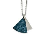 Chisel Stainless Steel Blue Crystal and Brushed Triangles Necklace style: SRN106320
