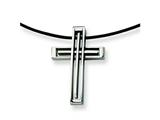 Chisel Stainless Steel Leather Cord Cross Necklace