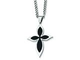 Chisel Stainless Steel Carbon Fiber Cross Necklace - 24 inches style: SRN109