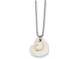 Chisel Stainless Steel Polished and Rose Ip-plated Heart 18in Necklace style: SRN112218
