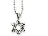 Chisel Stainless Steel Antiqued and Polished Star Of David Necklace style: SRN113024