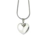 Chisel Stainless Steel Polished Puff Heart 20in Necklace style: SRN113420