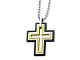 Chisel Stainless Steel Black and Gold Plated Moveable Cross Necklace - 22 inches