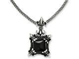 Chisel Stainless Steel Antiqued and Black Agate and Fleur De Lis Necklace style: SRN114020