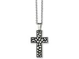 Chisel Stainless Steel Antiqued Pebble Cross Necklace style: SRN115124