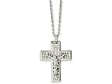 Chisel Stainless Steel Polished and Textured Crucifix 20in Necklace style: SRN115420