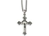 Chisel Stainless Steel Antiqued and Polished Crucifix 24in Necklace style: SRN115824
