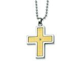 Chisel Stainless Steel 14k Gold and Diamond Accent Cross Necklace - 22 inches style: SRN115