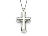 Chisel Stainless Steel Polished Cross Necklace style: SRN117622