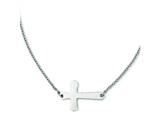 Stainless Steel Polished Sideways Cross Necklace style: SRN1179