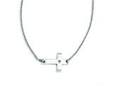 Stainless Steel Polished Sideways Cross With Cz  Necklace style: SRN1181