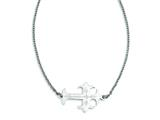 Stainless Steel Brushed and Polished Sideways Cross Necklace style: SRN1184