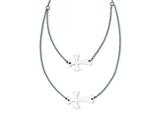 Stainless Steel Double Sideways Cross Layered Necklace style: SRN1185