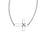 Stainless Steel Sideways Cross W/chain Necklace style: SRN1186