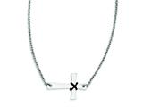 Stainless Steel Sideways Cross With Rubber Accent Necklace style: SRN1187