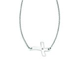 Stainless Steel Fancy Sideways Cross With Cz Necklace style: SRN1189