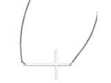 Stainless Steel Polished Sideways Cross Necklace style: SRN1192