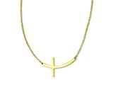 Stainless Steel Yellow Ip-plated Sideways Cross 18in Necklace style: SRN1195