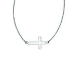 Stainless Steel Polished Sideways Cross Necklace style: SRN1196