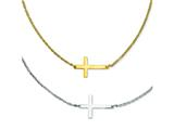 Stainless Steel Double Sideways Cross Layered Necklace style: SRN1197