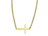 Stainless Steel Yellow Ip-plated Sideways Cross 18in Necklace style: SRN1199