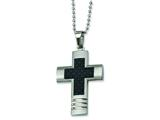 Chisel Stainless Steel Carbon Fiber Cross Necklace - 22 inches