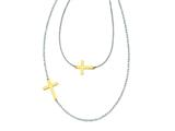 Stainless Steel Double Sideways Cross Layered Necklace style: SRN1200