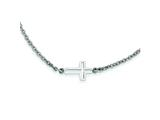 Stainless Steel Polished Sideways Cross Necklace style: SRN1201