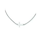 Stainless Steel Polished Sideways Cross  Necklace style: SRN1208
