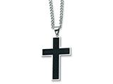 Chisel Stainless Steel Carbon Fiber Cross Necklace - 24 inches style: SRN120