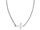 Chisel Stainless Steel Polished Sideways Cross Necklace style: SRN121117