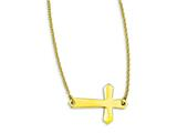 Stainless Steel Yellow Ip-plated Sideways Cross 20in Necklace style: SRN1212