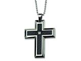 Chisel Stainless Steel Carbon Fiber Diamond Accent Cross Necklace - 24 inches