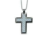 Chisel Stainless Steel Grey Carbon Fiber Cross Necklace - 24 inches style: SRN123