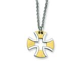 Chisel Stainless Steel Gold Plated Cross Necklace - 18 inches style: SRN124
